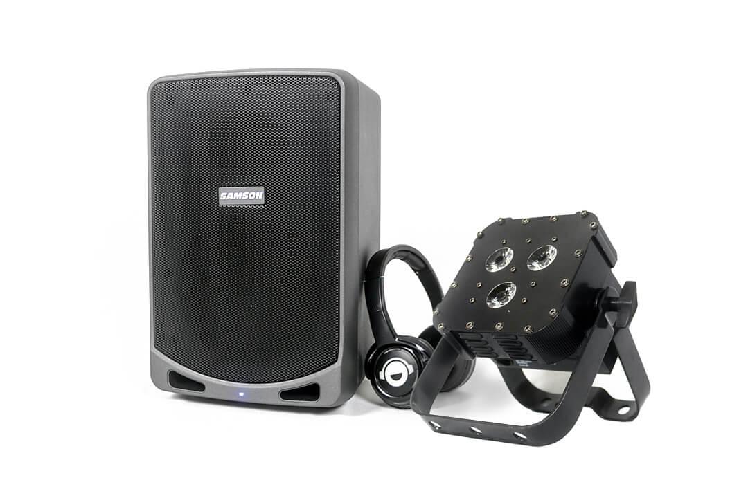 Bluetooth Speaker, Silent Disco Headphones and Uplighting