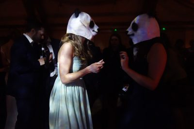 Pandas on the Dancefloor at a Wedding in the Events Barn at Nancarrow Farm, Cornwall