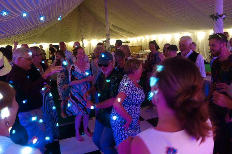 A full dancefloor at a marquee wedding reception in Cornwall